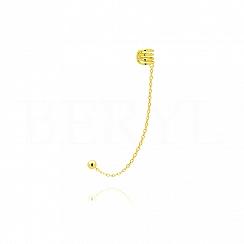 Nausznica z łańcuszkiem srebrna pozłacana sprężynka gładka