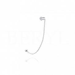 Nausznica z łańcuszkiem srebrna z cyrkoniami - lewa