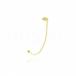 Nausznica z łańcuszkiem srebrna pozłacana z cyrkoniami - lewa