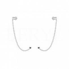 Nausznice z łańcuszkiem srebrne z cyrkonią