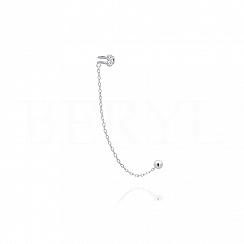 Nausznica z łańcuszkiem srebrna z cyrkoniami - prawa