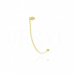 Nausznica z łańcuszkiem srebrna pozłacana z cyrkoniami - prawa