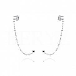 Nausznice z łańcuszkiem srebrne z trzema cyrkoniami