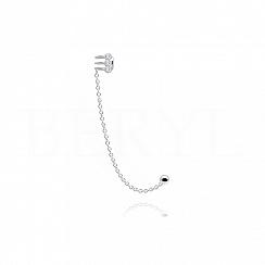 Nausznica z łańcuszkiem srebrna z trzema cyrkoniami - prawa