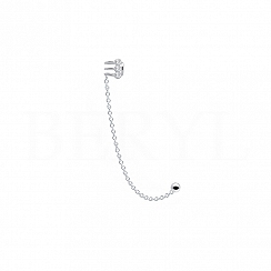 Nausznica z łańcuszkiem prawa srebrna potrójna sprężynka z cyrkonią