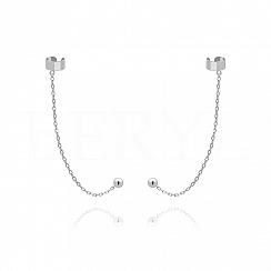 Nausznice z łańcuszkiem srebrne gładkie