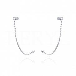 Nausznice z łańcuszkiem srebrne szlifowane