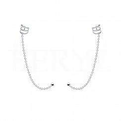 Nausznice z łańcuszkiem srebrne sprężynki