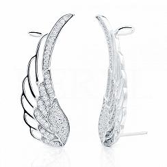 Nausznice skrzydła srebrne z białą cyrkonią