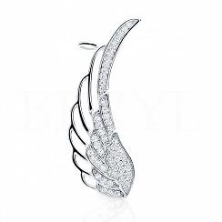 Nausznica skrzydło srebrna z cyrkonią - prawa