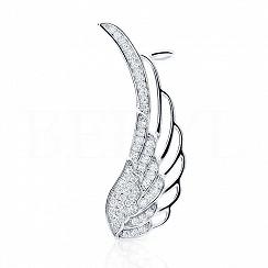 Nausznica skrzydło srebrna z cyrkonią - lewa