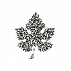 Broszka liść z markazytami srebrna
