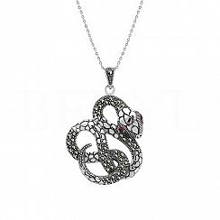Naszyjnik wąż z markazytami i rubinami srebrne