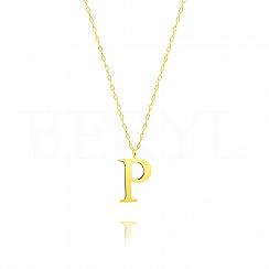 Naszyjnik z literką P srebrny pozłacany 2 cm