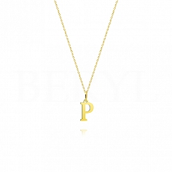 Naszyjnik złoty z literką P 1cm, łańcuszek ankier regulowany