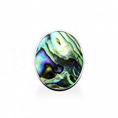 Pierścionek z masą perłową ciemną owalny gładki
