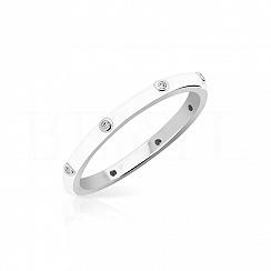 Pierścionek srebrny z białą emalią