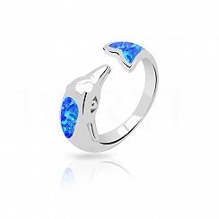 Pierścionek z opalem niebieskim srebrny delfin