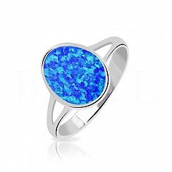 Pierścionek z opalem niebieskim srebrny subtelny