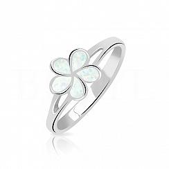Pierścionek z opalem białym srebrny kwiatuszek