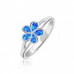 Pierścionek z opalem niebieskim srebrny kwiatuszek