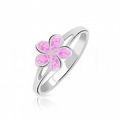 Pierścionek z opalem różowym srebrny kwiatuszek