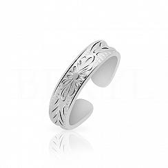 Pierścionek obrączka srebrna z ozdobnym szlifem