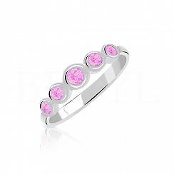 Pierścionek z opalem różowym subtelny
