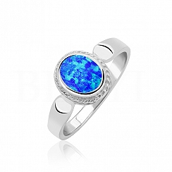 Pierścionek z opalem srebrny szlifowany - niebieski owalny