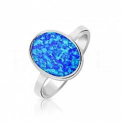 Pierścionek z opalem srebrny - niebieski owalny
