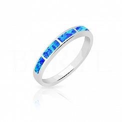 Pierścionek z opalem niebieskim srebrny delikatny