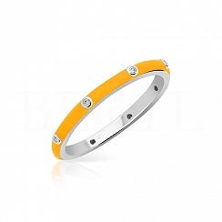 Pierścionek srebrny z pomarańczową emalią