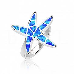 Pierścionek z opalem niebieski srebrny rozwiazda