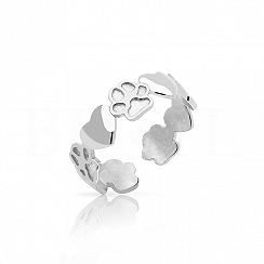 Pierścionek serduszka i łapki psa srebrny