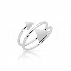 Pierścionek sprężynka z trójkątami srebrny