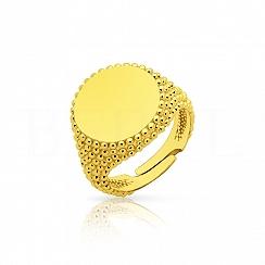 Pierścionek sygnet damski srebrny pozłacany