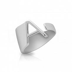 Pierścionek z literką A srebrny szeroki