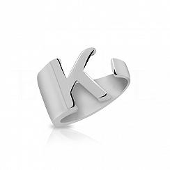 Pierścionek z literką K srebrny szeroki