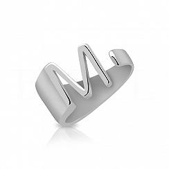 Pierścionek z literką M srebrny szeroki