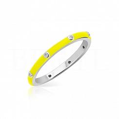 Pierścionek srebrny z żółtą emalią
