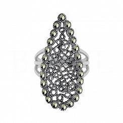 Pierścionek srebrny z markazytami elegancki