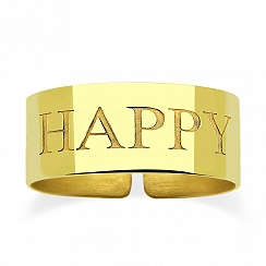 Pierścionek srebrny pozłacany regulowany obrączka HAPPY