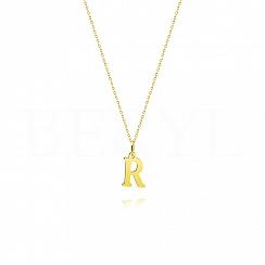 Naszyjnik złoty z literką R 1cm, łańcuszek ankier regulowany