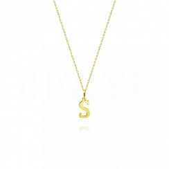 Naszyjnik złoty z literką S 1cm, łańcuszek ankier regulowany