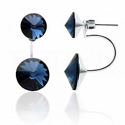 Kolczyki za ucho srebrne z granatowymi kryształkami swarovskiego