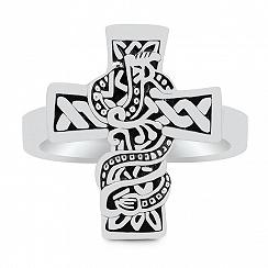 Sygnet męski srebrny z krzyżem