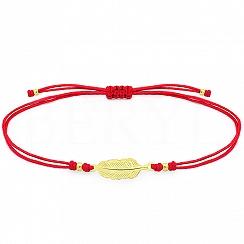 Bransoletka na sznurku czerwonym srebrna pozłacana z piórkiem