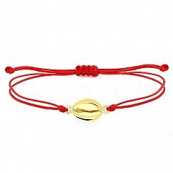 Bransoletka na sznurku czerwonym srebrna pozłacana z muszelką