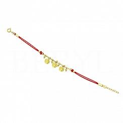 Bransoletka na sznurku Monety Srebro 925
