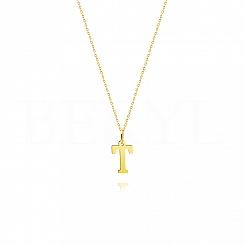 Naszyjnik złoty z literką T 1cm, łańcuszek ankier regulowany